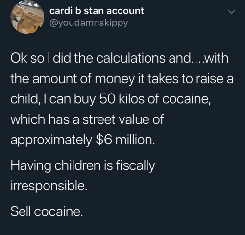 Which: cardi b stan account  @youdamnskippy  Ok so I did the calculations and...with  the amount of money it takes to raise a  child, I can buy 50 kilos of cocaine,  which has a street value of  approximately $6 million.  Having children is fiscally  irresponsible.  Sell cocaine.