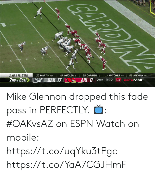 carrier: CARDIN  14 HATCHER WR  85 CARRIER TE  45 INGOLD FB  ESP MNF  22 MARTIN RB  04  2 RB, 1 TE, 2 WR  ARI O2ND 8:32  DAK 17  2ND & Goal Mike Glennon dropped this fade pass in PERFECTLY.  📺: #OAKvsAZ on ESPN Watch on mobile: https://t.co/uqYku3tPgc https://t.co/YaA7CGJHmF