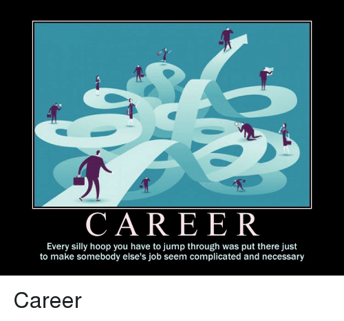 Hoop: CAREER  Every silly hoop you have to jump through was put there just  to make somebody else's job seem complicated and necessary Career