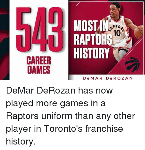 DeMar DeRozan: CAREER  GAMES  MOST  PTO  10  RAPTORS  HISTORY  D e M A R D e R O Z A N DeMar DeRozan has now played more games in a Raptors uniform than any other player in Toronto's franchise history.