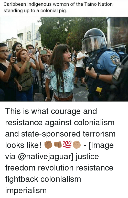 colonialism: Caribbean indigenous womxn of the Taino Nation  standing up to a colonial pig. This is what courage and resistance against colonialism and state-sponsored terrorism looks like! ✊🏾👊🏾💯✊🏽 - [Image via @nativejaguar] justice freedom revolution resistance fightback colonialism imperialism