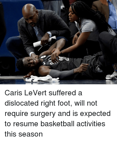 Basketball, Resume, and Foot: Caris LeVert suffered a dislocated right foot, will not require surgery and is expected to resume basketball activities this season