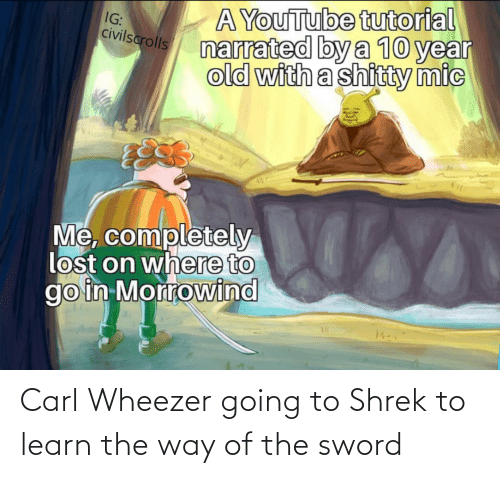 the sword: Carl Wheezer going to Shrek to learn the way of the sword