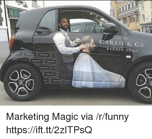 Barber, Funny, and Barber Shop: CARLO & C  BARBER SHOP Marketing Magic via /r/funny https://ift.tt/2zITPsQ
