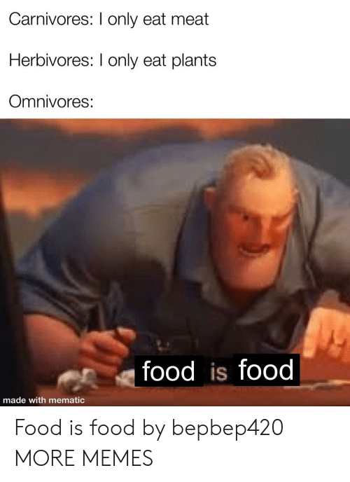 Dank, Food, and Memes: Carnivores: I only eat meat  Herbivores: I only eat plants  Omnivores:  food is food  made with mematic Food is food by bepbep420 MORE MEMES