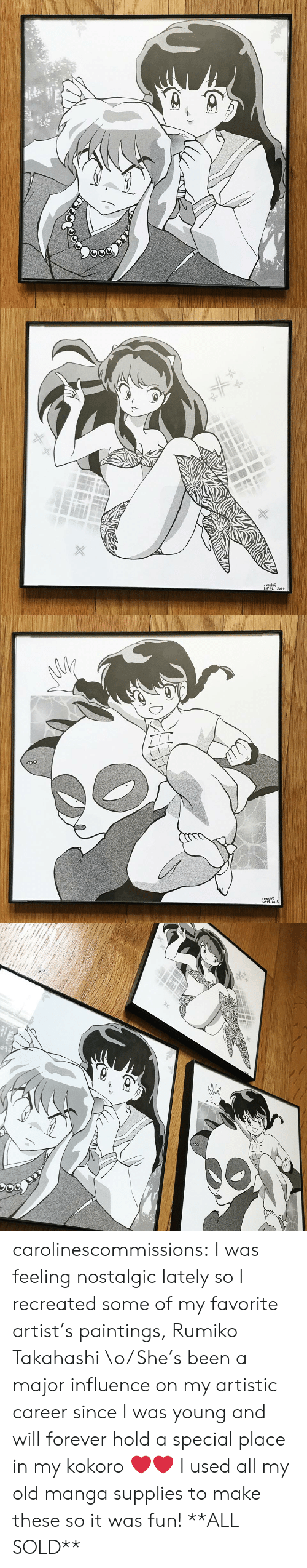 Paintings, Target, and Tumblr: CAROLINE  LoPE2 201 carolinescommissions: I was feeling nostalgic lately so I recreated some  of my favorite artist's paintings, Rumiko Takahashi \o/ She's been a  major influence on my artistic career since I was young and will forever  hold a special place in my kokoro ❤️❤️ I used all my old manga supplies to make these so it was fun! **ALL SOLD**