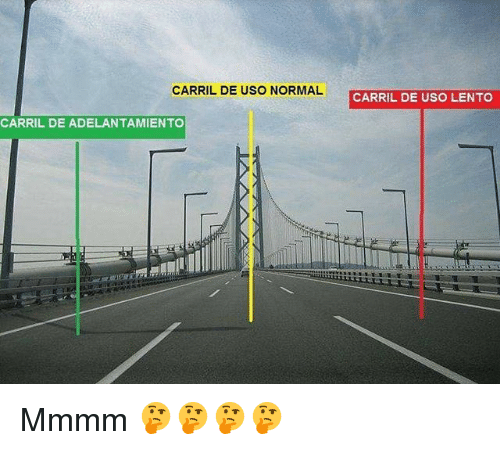 Uso, Normal, and Mmmm: CARRIL DE USO NORMAL  CARRIL DE USO LENTO  CARRIL DE ADELANTAMIENTO Mmmm 🤔🤔🤔🤔
