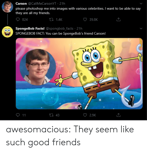 Bobs: Carson @CallMeCarsonYT 21h  please photoshop me into images with various celebrities. I want to be able to say  they are all my friends.  ti 1.4K  39.8K  824  SpongeBob Facts! @spongbob_facts 21h  SPONGEBOB FACT: You can be Sponge Bob's friend Carson!  O 11  ti 43  2.9K awesomacious:  They seem like such good friends