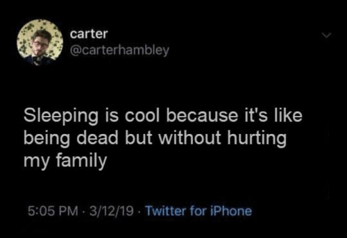 Its Like: carter  @carterhambley  Sleeping is cool because it's like  being dead but without hurting  my family  5:05 PM 3/12/19 Twitter for iPhone