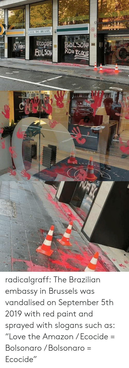 "brasil: CASA DO BRASIL  BOLSONA  Ro ECOCIP  ECOGIDE  BOLSON  350   CHOO radicalgraff:   The Brazilian embassy in Brussels was vandalised on September 5th 2019  with red paint and sprayed with slogans such as: ""Love the Amazon /  Ecocide = Bolsonaro / Bolsonaro = Ecocide"""
