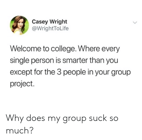 Smarter Than: Casey Wright  @WrightToLife  Welcome to college. Where every  single person is smarter than you  except for the 3 people in your group  project. Why does my group suck so much?