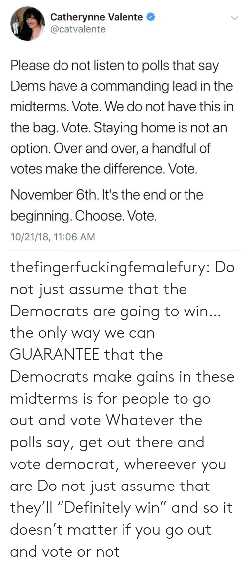 "Tumblr, Blog, and Home: Catherynne Valente  @catvalente  Please do not listen to polls that say  Dems have a commanding lead in the  midterms. Vote. We do not have this in  the bag. Vote. Staying home is not an  option. Over and over, a handful of  votes make the difference. Vote.  November 6th. It's the end or the  beginning. Choose. Vote.  10/21/18, 11:06 AM thefingerfuckingfemalefury:  Do not just assume that the Democrats are going to win…the only way we can GUARANTEE that the Democrats make gains in these midterms is for people to go out and vote Whatever the polls say, get out there and vote democrat, whereever you are  Do not just assume that they'll ""Definitely win"" and so it doesn't matter if you go out and vote or not"