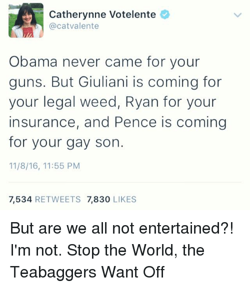 Guns, Memes, and 🤖: Catherynne Votelente  @cat Valente  Obama never came for your  guns. But Giuliani is coming for  your legal weed, Ryan for your  insurance, and Pence is coming  for your gay son.  11/8/16, 11:55 PM  7,534  RETWEETS 7,830  LIKES But are we all not entertained?!  I'm not.  Stop the World, the Teabaggers Want Off