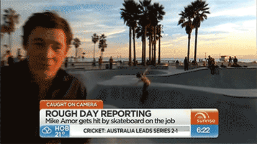 Skateboarding, Australia, and Camera: CAUGHT ON CAMERA  ROUGH DAY REPORTING  Mike Amor gets hit by skateboard on the job  CRICKET: AUSTRALIA LEADS SERIES 2-1  6:22