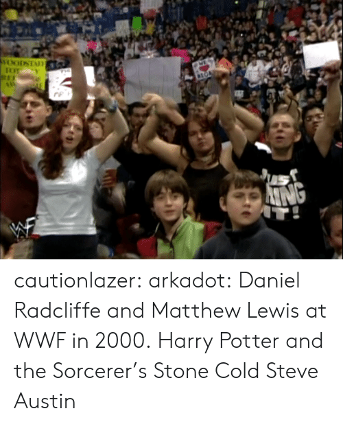 Daniel Radcliffe, Harry Potter, and Stone Cold Steve Austin: cautionlazer:  arkadot:  Daniel Radcliffe and Matthew Lewis at WWF in 2000.  Harry Potter and the Sorcerer's Stone Cold Steve Austin