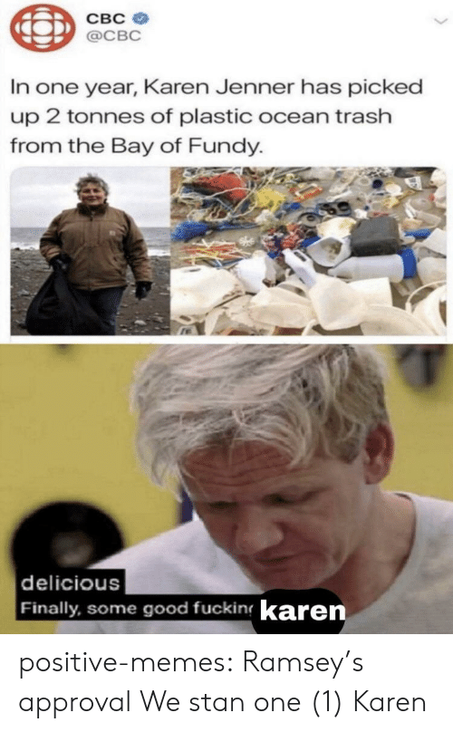 Fucking, Memes, and Stan: CBC  @CBC  In one year, Karen Jenner has picked  up 2 tonnes of plastic ocean trash  from the Bay of Fundy.  delicious  Finally, some good fucking karen positive-memes:  Ramsey's approval  We stan one (1) Karen