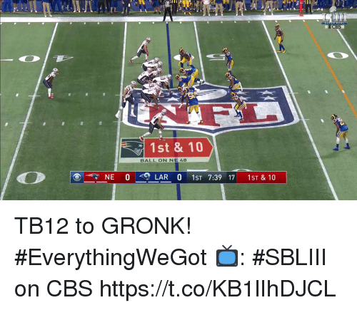 Memes, Cbs, and 🤖: CBS  1st & 10  BALL ON NE 48  NE 0  LAR 0 1ST 7:39 17 1ST & 10 TB12 to GRONK! #EverythingWeGot   📺: #SBLIII on CBS https://t.co/KB1lIhDJCL