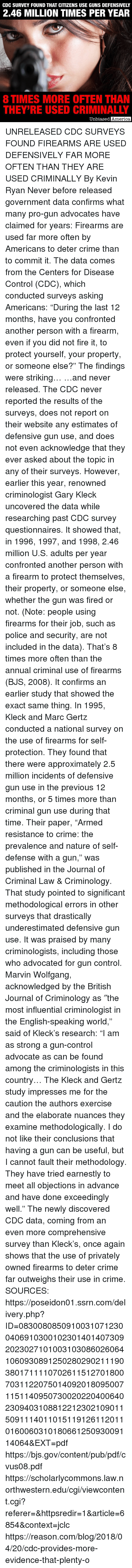 "cdc: CDC SURVEY FOUND THAT CITIZENS USE GUNS DEFENSIVELY  2.46 MILLION TIMES PER YEAR  8 TIMES MORE OFTEN THAN  THEY'RE USED CRIMINALLY  Unbiased  America UNRELEASED CDC SURVEYS FOUND FIREARMS ARE USED DEFENSIVELY FAR MORE OFTEN THAN THEY ARE USED CRIMINALLY By Kevin Ryan  Never before released government data confirms what many pro-gun advocates have claimed for years: Firearms are used far more often by Americans to deter crime than to commit it.  The data comes from the Centers for Disease Control (CDC), which conducted surveys asking Americans: ""During the last 12 months, have you confronted another person with a firearm, even if you did not fire it, to protect yourself, your property, or someone else?""  The findings were striking…  …and never released.  The CDC never reported the results of the surveys, does not report on their website any estimates of defensive gun use, and does not even acknowledge that they ever asked about the topic in any of their surveys.  However, earlier this year, renowned criminologist Gary Kleck uncovered the data while researching past CDC survey questionnaires.  It showed that, in 1996, 1997, and 1998, 2.46 million U.S. adults per year confronted another person with a firearm to protect themselves, their property, or someone else, whether the gun was fired or not. (Note: people using firearms for their job, such as police and security, are not included in the data).  That's 8 times more often than the annual criminal use of firearms (BJS, 2008).  It confirms an earlier study that showed the exact same thing.  In 1995, Kleck and Marc Gertz conducted a national survey on the use of firearms for self-protection.  They found that there were approximately 2.5 million incidents of defensive gun use in the previous 12 months, or 5 times more than criminal gun use during that time.  Their paper, ""Armed resistance to crime: the prevalence and nature of self-defense with a gun,"" was published in the Journal of Criminal Law & Criminology.  That study pointed to significant methodological errors in other surveys that drastically underestimated defensive gun use.  It was praised by many criminologists, including those who advocated for gun control.  Marvin Wolfgang, acknowledged by the British Journal of Criminology as ″the most influential criminologist in the English-speaking world,"" said of Kleck's research:  ""I am as strong a gun-control advocate as can be found among the criminologists in this country… The Kleck and Gertz study impresses me for the caution the authors exercise and the elaborate nuances they examine methodologically. I do not like their conclusions that having a gun can be useful, but I cannot fault their methodology. They have tried earnestly to meet all objections in advance and have done exceedingly well.""  The newly discovered CDC data, coming from an even more comprehensive survey than Kleck's, once again shows that the use of privately owned firearms to deter crime far outweighs their use in crime.  SOURCES:  https://poseidon01.ssrn.com/delivery.php?ID=083008085091003107123004069103001023014014073092023027101003103086026064106093089125028029021119038017111107026115127018007031122075014092018095007115114095073002022040064023094031088122123021090115091114011015119126112011016006031018066125093009114064&EXT=pdf https://bjs.gov/content/pub/pdf/cvus08.pdf https://scholarlycommons.law.northwestern.edu/cgi/viewcontent.cgi?referer=&httpsredir=1&article=6854&context=jclc https://reason.com/blog/2018/04/20/cdc-provides-more-evidence-that-plenty-o"