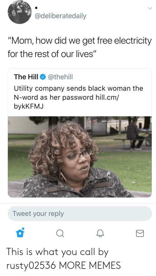 "utility: Cdeliberatedaily  ""Mom, how did we get free electricity  for the rest of our lives""  The Hill @thehill  Utility company sends black woman the  N-word as her password hill.cm/  bykKFMJ  Tweet your reply This is what you call  by rusty02536 MORE MEMES"