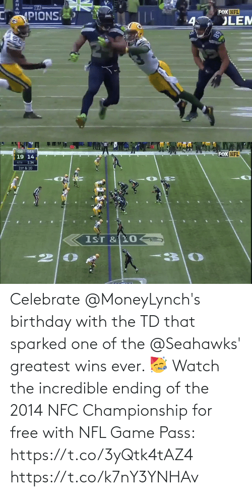 Championship: Celebrate @MoneyLynch's birthday with the TD that sparked one of the @Seahawks' greatest wins ever. 🥳  Watch the incredible ending of the 2014 NFC Championship for free with NFL Game Pass: https://t.co/3yQtk4tAZ4 https://t.co/k7nY3YNHAv