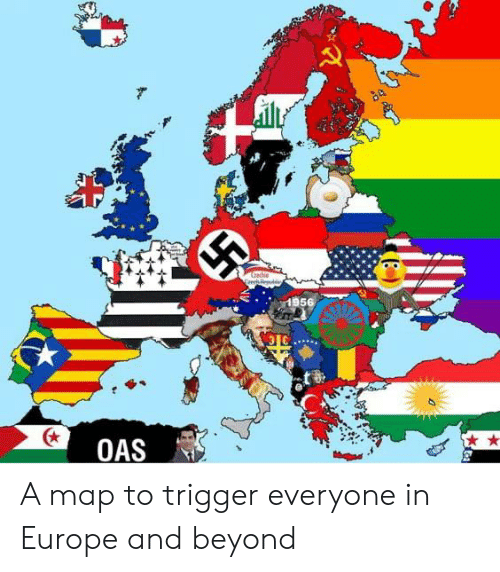 oas: Cethie  1956  OAS A map to trigger everyone in Europe and beyond