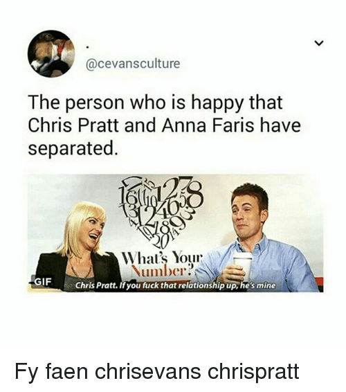 annas: @cevansculture  The person who is happy that  Chris Pratt and Anna Faris have  separated.  Number?  GIF  Chris Pratt. Ifyou fuck that relationship up, hes mine Fy faen chrisevans chrispratt
