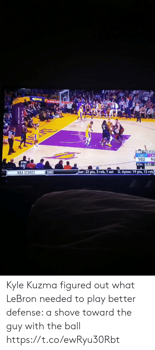 Nba Scores: CH  LAC LAL  102 94  4TH 6:52  KING  NBA SCORES  SUNS  er: 22 pts, 5 reb, 7 ast  D. Ayton: 19 pts, 12 reb Kyle Kuzma figured out what LeBron needed to play better defense: a shove toward the guy with the ball https://t.co/ewRyu30Rbt