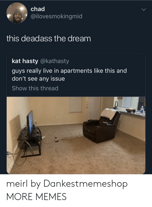 Dank, Memes, and Target: chad  @ilovesmokingmid  this deadass the dream  kat hasty @kathasty  guys really live in apartments like this and  don't see any issue  Show this thread meirl by Dankestmemeshop MORE MEMES