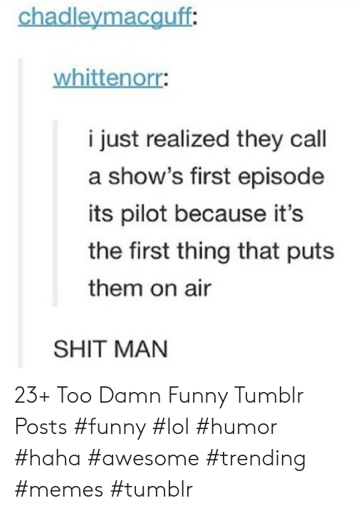 Funny, Lol, and Memes: chadleymacguff:  whittenorr:  i just realized they call  a show's first episode  its pilot because it's  the first thing that puts  them on air  SHIT MAN 23+ Too Damn Funny Tumblr Posts #funny #lol #humor #haha #awesome #trending #memes #tumblr