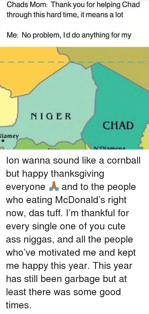 Ass, Cute, and Memes: Chads Mom: Thank you for helping Chad  through this hard time, it means a lot  Me: No problem, Id do anything for my  NIGER  CHAD  iamey Ion wanna sound like a cornball but happy thanksgiving everyone 🙏🏾 and to the people who eating McDonald's right now, das tuff. I'm thankful for every single one of you cute ass niggas, and all the people who've motivated me and kept me happy this year. This year has still been garbage but at least there was some good times.