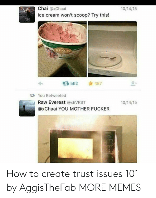 everest: Chai @xChaai  Ice cream won't scoop? Try this!  10/14/15  562 487  다 You Retweeted  Raw Everest @xEVRST  @xChaai YOU MOTHER FUCKER  10/14/15 How to create trust issues 101 by AggisTheFab MORE MEMES