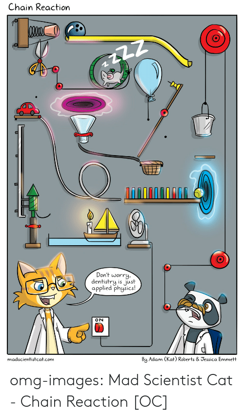 chain reaction: Chain Reaction  4T  Don't worry  dentistry is just  applied phgsics!  15 JS  madscientistcat.com  By Adam (Kat) Roberts & Jessica Emmett omg-images:  Mad Scientist Cat - Chain Reaction [OC]
