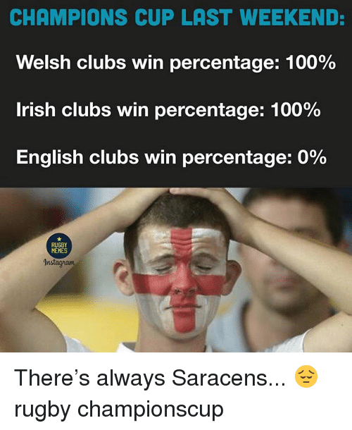 Memes Instagram: CHAMPIONS CUP LAST WEEKEND:  Welsh clubs win percentage: 100%  Irish clubs win percentage: 100%  English clubs win percentage: 0%  RUGBY  MEMES  Instagram There's always Saracens... 😔 rugby championscup