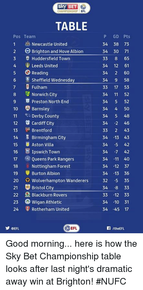 fulham: CHAMPIONSHIP  EFL  TABLE  P GD Pts  Pos Team  1 Newcastle United  34 38 73  2 Brighton and Hove Albion  34 30 71  3 Huddersfield Town  33  8 65  4 Leeds United  34 12 61  5 Reading  34  2 60  Sheffield Wednesday  34  9 58  7 3 Fulham  33  17 53  8 Norwich City  34 11  52  9 5 Preston North End  34  5 52  10 Barnsley  34  50  11  RA Derby County  34  5 48  12 Cardiff city  34  2 46  Brentford  33  2 43  13  14 Birmingham City  34  -13 43  15 Aston Villa  34  -5 42  16 E Ipswich Town  34  -7 42  17 Queens Park Rangers  34  11 40  18 Nottingham Forest  34  12 37  19 Burton Albion  34  13 36  20  Wolverhampton Wanderers  32 -5 35  21 Bristol City  34  8 33  22 Blackburn Rovers  33  12 33  23 Wigan Athletic  34 10 31  24 Rotherham United  34  45 17  EFL  CEFL Good morning... here is how the Sky Bet Championship table looks after last night's dramatic away win at Brighton! #NUFC