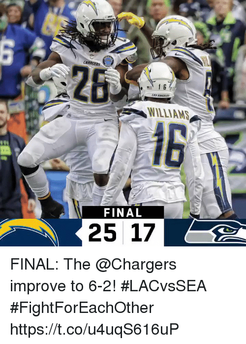 Memes, Chargers, and 🤖: CHARGERS  2  WILLIAMS  FINAL  25 17 FINAL: The @Chargers improve to 6-2! #LACvsSEA  #FightForEachOther https://t.co/u4uqS616uP