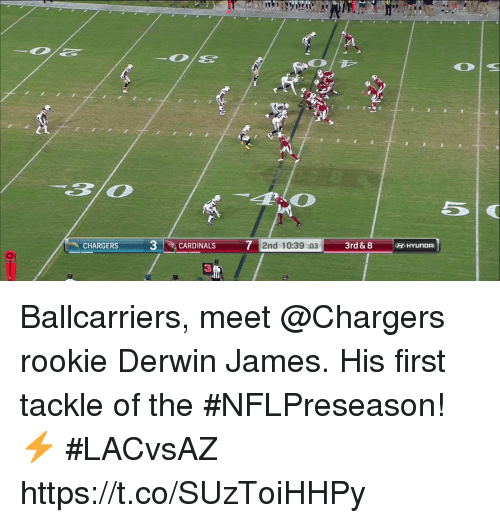 Memes, Cardinals, and Chargers: CHARGERS  3-İ  CARDINALS 72nd 10:39 :033rd & 8  3 Ballcarriers, meet @Chargers rookie Derwin James.  His first tackle of the #NFLPreseason! ⚡️ #LACvsAZ https://t.co/SUzToiHHPy