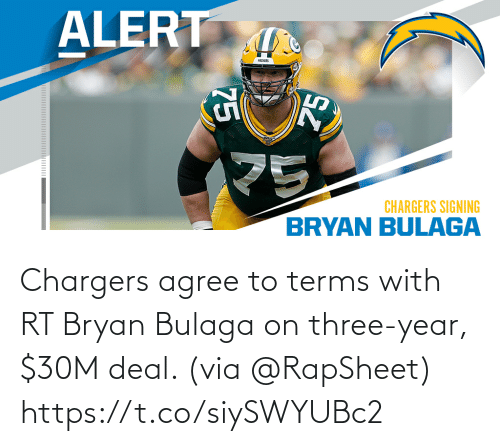 year: Chargers agree to terms with RT Bryan Bulaga on three-year, $30M deal. (via @RapSheet) https://t.co/siySWYUBc2