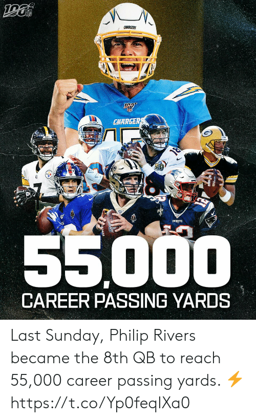 Memes, Patriotic, and Chargers: CHARGERS  CHARGER  PATRIOTS  55000  CAREER PASSING YARDS Last Sunday, Philip Rivers became the 8th QB to reach 55,000 career passing yards. ⚡️ https://t.co/Yp0feqIXa0