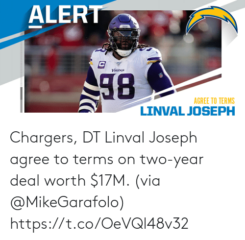 year: Chargers, DT Linval Joseph agree to terms on two-year deal worth $17M. (via @MikeGarafolo) https://t.co/OeVQl48v32