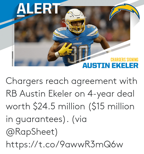 Million: Chargers reach agreement with RB Austin Ekeler on 4-year deal worth $24.5 million ($15 million in guarantees). (via @RapSheet) https://t.co/9awwR3mQ6w