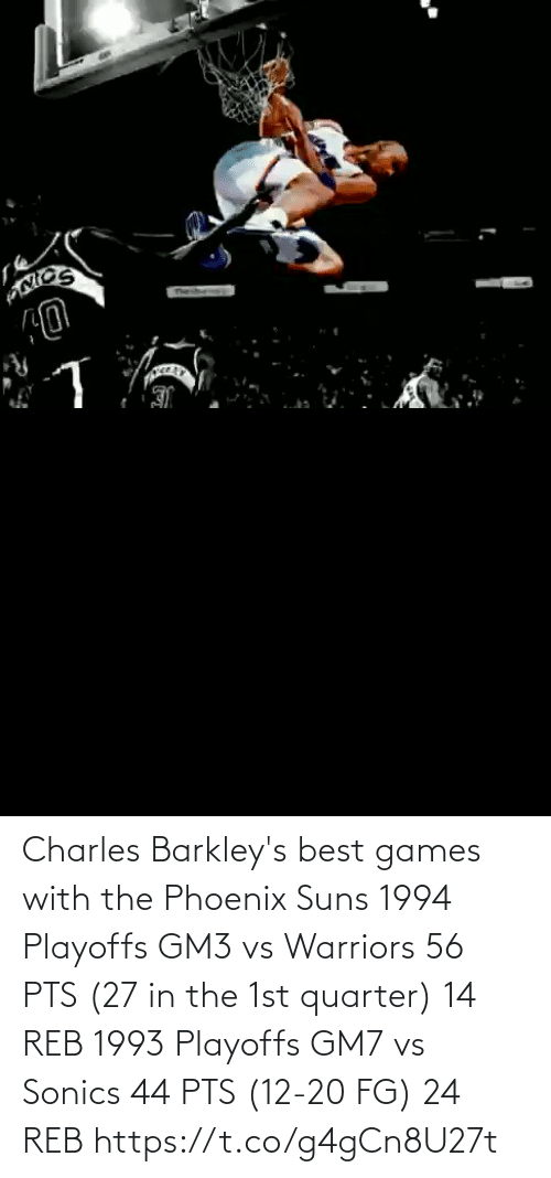 Vs Warriors: Charles Barkley's best games with the Phoenix Suns  1994 Playoffs GM3 vs Warriors 56 PTS (27 in the 1st quarter) 14 REB  1993 Playoffs GM7 vs Sonics 44 PTS (12-20 FG) 24 REB https://t.co/g4gCn8U27t
