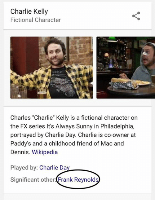 """Its Always Sunny In: Charlie Kelly  Fictional Character  Charles """"Charlie"""" Kelly is a fictional character on  the FX series It's Always Sunny in Philadelphia,  portrayed by Charlie Day. Charlie is co-owner at  Paddy's and a childhood friend of Mac and  Dennis. Wikipedia  Played by  Charlie Da  Significant other  Frank Reynolds"""