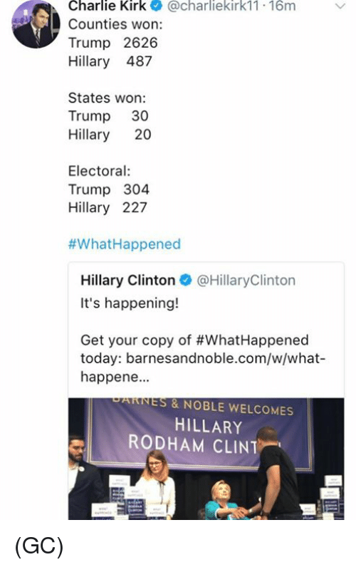 Wonned: Charlie Kirk@charliekirk11 16m  Counties won:  Trump 2626  Hillary 487  States won:  Trump 30  Hillary 20  Electoral  Trump 304  Hillary 227  #What-Happened  Hillary Clinton@HillaryClinton  It's happening!  Get your copy of #WhatHappened  today: barnesandnoble.com/w/what-  happene.  PARNES & NOBLE WELCOMES  HILLARY  RODHAM CLINT (GC)