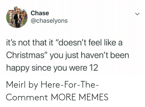 "Havent: Chase  @chaselyons  it's not that it ""doesn't feel like a  Christmas"" you just haven't been  happy since you were 12 Meirl by Here-For-The-Comment MORE MEMES"