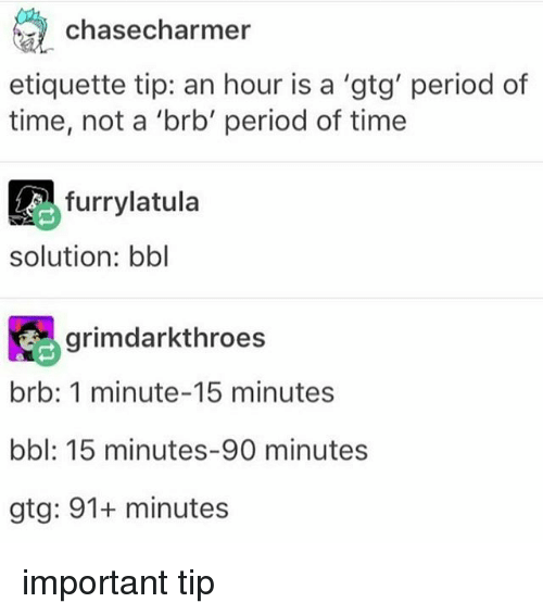 gtg: chasecharmer  etiquette tip: an hour is a 'gtg' period of  time, not a 'brb' period of time  furrylatula  solution: bbl  grimdarkthroes  brb: 1 minute-15 minutes  bbl: 15 minutes-90 minutes  gtg: 91+ minutes important tip