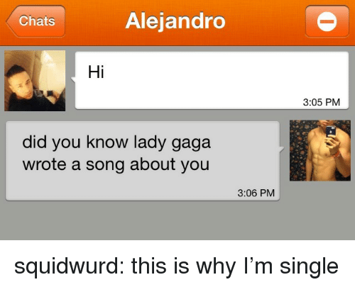Lady Gaga, Target, and Tumblr: Chats  Alejandro  Hi  3:05 PM  did you know lady gaga  wrote a song about you  3:06 PM squidwurd:  this is why I'm single