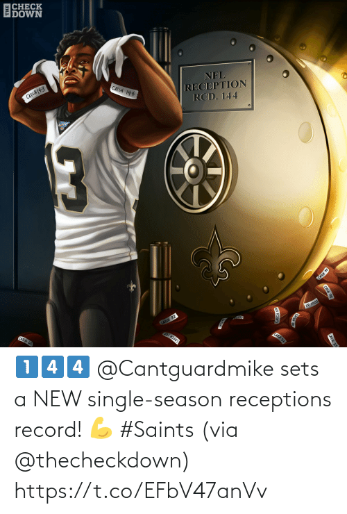 Sets: |CHECK  DOWN  CATCH (43  CATCH 144  NFL  RECEPTION  RCD. 144  CATCH 10  CATCH 65  CATCH 82  ze HII  CATO  CATCH 107  CATCH 56  CATCH 138  CATCH 23  CATCH 129 1️⃣4️⃣4️⃣  @Cantguardmike sets a NEW single-season receptions record! 💪 #Saints   (via @thecheckdown) https://t.co/EFbV47anVv
