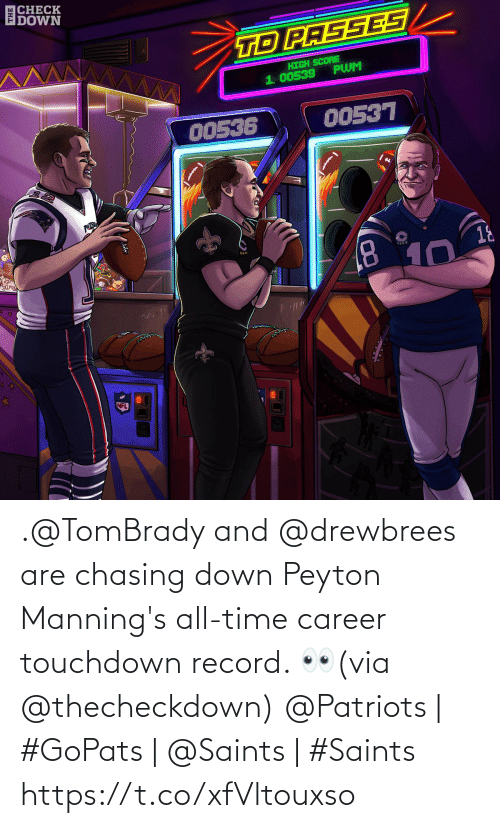 tombrady: |CHECK  DOWN  TD PASSES  HIGH SCORE  PWM  1. 00539  00536  00537  PATRO  18  8.  10  NFL .@TomBrady and @drewbrees are chasing down Peyton Manning's all-time career touchdown record. 👀(via @thecheckdown)  @Patriots | #GoPats | @Saints | #Saints https://t.co/xfVltouxso