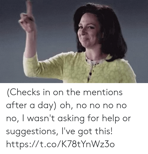 Mentions: (Checks in on the mentions after a day) oh, no no no no no, I wasn't asking for help or suggestions, I've got this! https://t.co/K78tYnWz3o