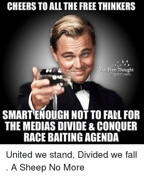 United We Stand: CHEERS TO ALL THE FREE THINKERS  The Free Thought  proect com  SMARTENOUGH NOT TO FALL FOR  THE MEDIAS DIVIDE & CONQUER  RACE BAITING AGENDA United we stand, Divided we fall . A Sheep No More